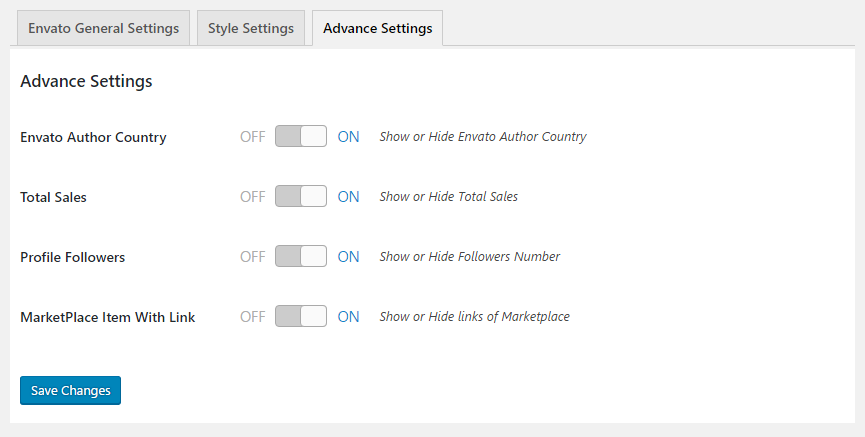 GS Envato Portfolio Advanced Settings