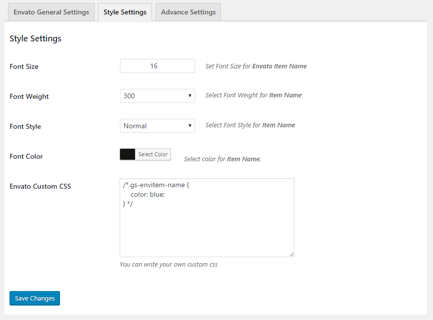 GS Envato Portfolio Style Settings